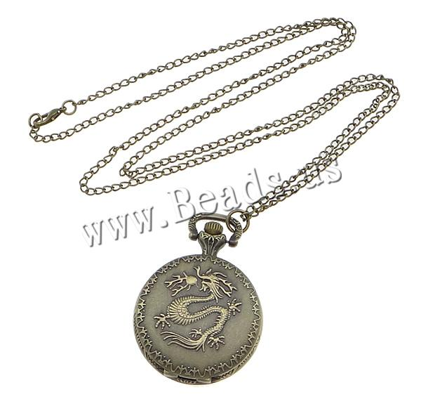 Buy Fashion Watch Necklace Zinc Alloy Glass Flat Round antique bronze color plated twist oval chain nickel lead & cadmium free 38.50mm Length:Approx 32.1 Inch 1 Sold Lot
