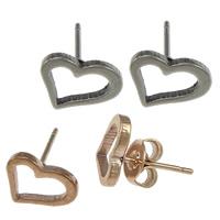 Edelstahl Ohrringe, Herz, plattiert, keine, 9x7x1.50mm, verkauft von Paar