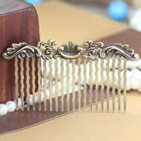 Messing Dekorative Haar Kamm finden, antike Bronzefarbe plattiert, frei von Nickel, Blei & Kadmium, 75x42x35mm, 50PCs/Menge, verkauft von Menge