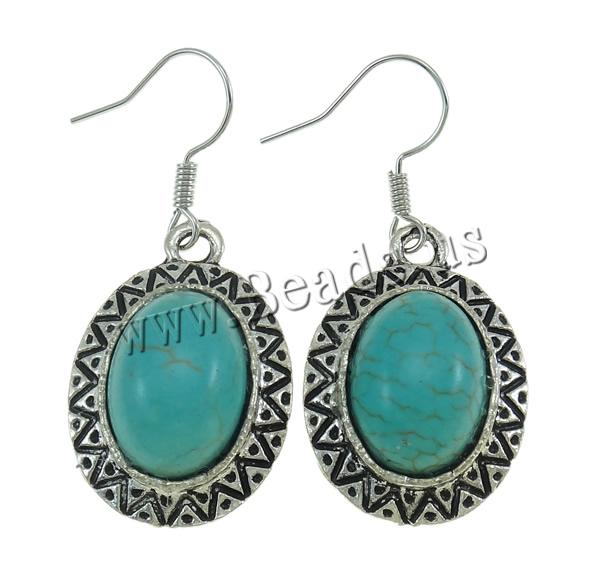 Buy Zinc Alloy Drop Earring turquoise iron earring hook Oval antique silver color plated nickel lead & cadmium free 17x38x6.50mm 10Bags/Lot 12/Bag Sold Lot