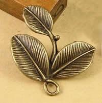 Zinklegierung Blatt Anhänger, antike Bronzefarbe plattiert, frei von Nickel, Blei & Kadmium, 27.5x23.5mm, Bohrung:ca. 1.5-2.5mm, 100PCs/Tasche, verkauft von Tasche