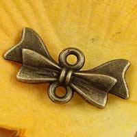 Schmetterling Zinklegierung Schmuckverbinder, Schleife, antike Bronzefarbe plattiert, 1/1-Schleife, frei von Nickel, Blei & Kadmium, 21x10mm, Bohrung:ca. 1.5-2.5mm, 200PCs/Tasche, verkauft von Tasche