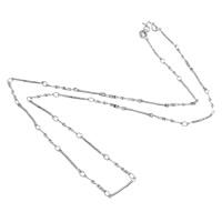Messingkette Halskette, Messing, Platinfarbe platiniert, Bar-Kette, frei von Nickel, Blei & Kadmium, 15x2x1mm, 12x1.5x0.2mm, Länge:ca. 18 ZollInch, 100SträngeStrang/Menge, verkauft von Menge