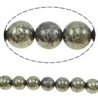 Goldene Pyrit Perlen, rund, verschiedene Größen vorhanden, Bohrung:ca. 1-1.5mm, Länge:ca. 15.5 ZollInch, verkauft von Menge