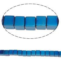 Nicht-magnetische Hämatit Perlen, Non- magnetische Hämatit, Würfel, bunte Farbe plattiert, verschiedene Größen vorhanden, keine, Bohrung:ca. 1mm, Länge:ca. 15.5 ZollInch, verkauft von Menge