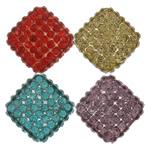 Harz Perlen Strass, Rhombus, mit Strass, keine, frei von Nickel, Blei & Kadmium, 18x18x8mm, Bohrung:ca. 2mm, 100PCs/Menge, verkauft von Menge