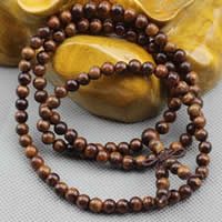 108 Mala Perlen, Schwarz Padauk, mit elastische Nylonschnur, rund, unterschiedliche Länge der Wahl & buddhistischer Schmuck & verschiedene Größen vorhanden & 3-Strang, verkauft von Menge