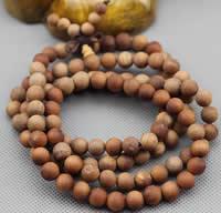 108 Mala Perlen, Sandelholz, mit elastische Nylonschnur, rund, unterschiedliche Länge der Wahl & buddhistischer Schmuck & verschiedene Größen vorhanden & 4-Strang, verkauft von Menge