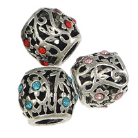 Messing European Perlen, Trommel, plattiert, ohne troll & mit Strass, keine, frei von Nickel, Blei & Kadmium, 10x11mm, Bohrung:ca. 5mm, 100PCs/Menge, verkauft von Menge