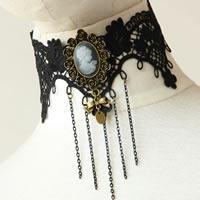 Gothic Halskette, Spitze, mit Messingkette & Harz & Zinklegierung, mit Verlängerungskettchen von 2.5Inch, plattiert, schwarz, frei von Nickel, Blei & Kadmium, 63mm, verkauft per ca. 12 ZollInch Strang