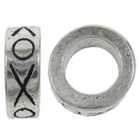 Zinklegierung Großes Loch Perlen, Kreisring, antik silberfarben plattiert, mit Brief Muster, frei von Nickel, Blei & Kadmium, 11x4mm, Bohrung:ca. 7mm, 10PCs/Tasche, verkauft von Tasche