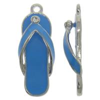 Zinklegierung Schuhe Anhänger, Platinfarbe platiniert, Emaille & mit Strass, keine, frei von Nickel, Blei & Kadmium, 11x29x6mm, Bohrung:ca. 2mm, 10PCs/Tasche, verkauft von Tasche