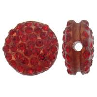 Harz Perlen Strass, flache Runde, mit Strass, keine, 12x7mm, Bohrung:ca. 2mm, 10PCs/Tasche, verkauft von Tasche