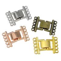Zinklegierung Fold Over Verschluss, plattiert, 5-litzig, keine, frei von Nickel, Blei & Kadmium, 24x17x5mm, Bohrung:ca. 1mm, 200PCs/Menge, verkauft von Menge