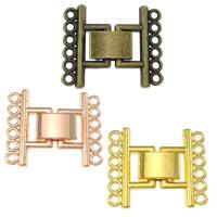 Zinklegierung Fold Over Verschluss, plattiert, 6-litzig, keine, frei von Nickel, Blei & Kadmium, 23x20x4mm, Bohrung:ca. 1mm, 200PCs/Menge, verkauft von Menge