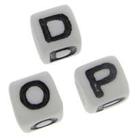 ABS-Kunststoff Alphabet Perlen, ABS Kunststoff, Würfel, gemischtes Muster, 7x7mm, Bohrung:ca. 4mm, ca. 1950PCs/Tasche, verkauft von Tasche