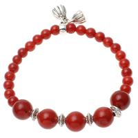 Natürliche Koralle Armband, mit Zinklegierung, rot, 10mm, 7x4mm, 6mm, Länge:ca. 7.5 ZollInch, 12SträngeStrang/Menge, verkauft von Menge