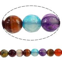 Turmalin Farbe Achat Perle, rund, natürlich, facettierte, 8mm, Bohrung:ca. 1mm, Länge:ca. 15 ZollInch, 10SträngeStrang/Menge, 48PCs/Strang, verkauft von Menge