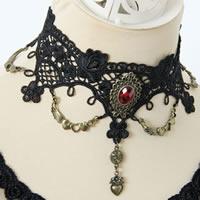 Gothic Halskette, Spitze, mit Harz & Zinklegierung, mit Verlängerungskettchen von 2.5Inch, Geflügelte Herzen, antike Bronzefarbe plattiert, facettierte, schwarz, frei von Nickel, Blei & Kadmium, 60mm, verkauft per ca. 12 ZollInch Strang