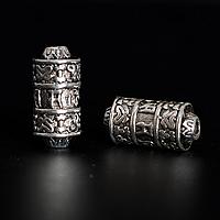 Buddhistische Perlen, Zinklegierung, Zylinder, antik silberfarben plattiert, buddhistischer Schmuck & om mani padme hum, frei von Nickel, Blei & Kadmium, 7.50x15mm, Bohrung:ca. 2mm, 200PCs/Menge, verkauft von Menge