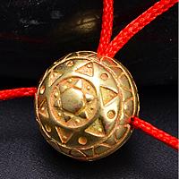 Messing 3 Löcher Guru Perlen, flache Runde, buddhistischer Schmuck, originale Farbe, frei von Nickel, Blei & Kadmium, 10x11.50mm, Bohrung:ca. 1mm, 50PCs/Menge, verkauft von Menge