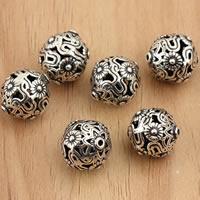 Bali Sterling Silber Perlen, Thailand, rund, hohl, 10mm, Bohrung:ca. 1mm, 5PCs/Tasche, verkauft von Tasche