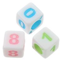 Alphabet Acryl Perlen, gemischt & Volltonfarbe, 6x6mm, Bohrung:ca. 3mm, ca. 3300PCs/Tasche, verkauft von Tasche