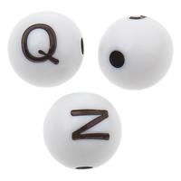 Alphabet Acryl Perlen, rund, gemischtes Muster & Volltonfarbe, weiß, 8x8mm, Bohrung:ca. 1mm, ca. 1850PCs/Tasche, verkauft von Tasche