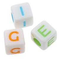 Alphabet Acryl Perlen, gemischt & Volltonfarbe, 7x7mm, Bohrung:ca. 3mm, ca. 2000PCs/Tasche, verkauft von Tasche