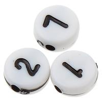 Alphabet Acryl Perlen, flache Runde, gemischtes Muster & Volltonfarbe, weiß, 7x3mm, Bohrung:ca. 1mm, ca. 3600PCs/Tasche, verkauft von Tasche