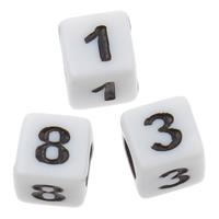 Alphabet Acryl Perlen, Würfel, gemischtes Muster & Volltonfarbe, weiß, 6x6mm, Bohrung:ca. 3mm, ca. 3300PCs/Tasche, verkauft von Tasche