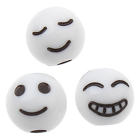 Volltonfarbe Acryl Perlen, rund, gemischtes Muster, weiß, 8x8mm, Bohrung:ca. 1mm, ca. 1800PCs/Tasche, verkauft von Tasche