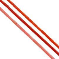 Natürliche Koralle Perle, Rohr, keine, 4x9mm, Bohrung:ca. 1mm, ca. 44PCs/Strang, verkauft per ca. 15.7 ZollInch Strang