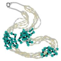 Muschel Halskette, mit Koralle & Nylonschnur & Kristall, Messing Federring Verschluss, Blume, 5-litzig, farbenfroh, 7x7mm, verkauft per ca. 20.5 ZollInch Strang