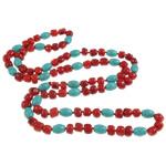 Natürliche Koralle Pullover Halskette, mit Türkis & Nylonschnur, 8x10.5mm, 8x7x7mm, verkauft per ca. 35.5 ZollInch Strang