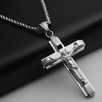 Edelstahl-Kreuz- Anhänger, 316 Edelstahl, Jesus Kreuz, originale Farbe, 32x62x6mm, Bohrung:ca. 3-5mm, 5PCs/Tasche, verkauft von Tasche
