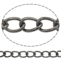Twist ovale Einsenkette, Eisen, metallschwarz plattiert, frei von Nickel, Blei & Kadmium, 5x17.50x1mm, 100m/Tasche, verkauft von Tasche