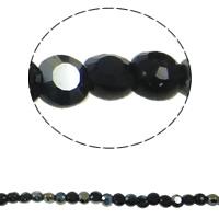 Klasse AA Kristallperlen, Kristall, flache Runde, bunte Farbe plattiert, verschiedene Größen vorhanden & facettierte & AA grade crystal, Jet schwarz, Bohrung:ca. 1mm, verkauft per ca. 14 ZollInch Strang