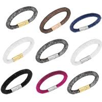 Gitter Rohr Armband, Kunststoff Netz, mit Kristall, Zinklegierung Magnetverschluss, plattiert, keine, frei von Nickel, Blei & Kadmium, 6mm, verkauft per ca. 7 ZollInch Strang