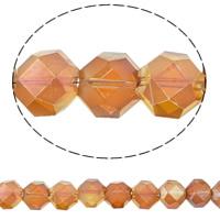 Klasse AA Kristallperlen, Kristall, Sechseck, bunte Farbe plattiert, verschiedene Größen vorhanden & facettierte & AA grade crystal, Topas, Bohrung:ca. 1mm, verkauft per ca. 15.5 ZollInch Strang
