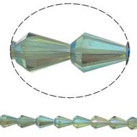 Klasse AA Kristallperlen, Kristall, Artemis, bunte Farbe plattiert, facettierte & AA grade crystal, grasgrün, 9x13mm, Bohrung:ca. 1.5mm, ca. 50PCs/Strang, verkauft per ca. 15.5 ZollInch Strang