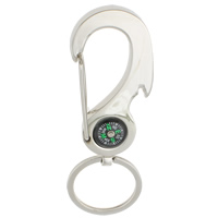 Zinklegierung Schlüssel Verschluss, mit Eisen Ring & Kunststoff, Platinfarbe platiniert, mit Kompass, frei von Nickel, Blei & Kadmium, 35x104x5mm, Bohrung:ca. 29mm, 10PCs/Tasche, verkauft von Tasche