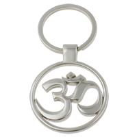 Zinklegierung Schlüsselanhänger, mit Eisen Ring, OM Zeichen, Platinfarbe platiniert, frei von Nickel, Blei & Kadmium, 40x50x4mm, Bohrung:ca. 25mm, Länge:ca. 3 ZollInch, 10SträngeStrang/Tasche, verkauft von Tasche