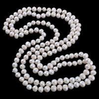 Natürliche Süßwasserperlen Halskette, Natürliche kultivierte Süßwasserperlen, 2 strängig, weiß, 8-10mm, verkauft per ca. 51 ZollInch Strang