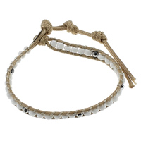 Glas Wrap Armband, mit Gewachsten Baumwollkordel & Non- magnetische Hämatit, Zinklegierung Verschluss, Platinfarbe platiniert, einstellbar & facettierte, 6mm, Länge:7.5-9 ZollInch, 30SträngeStrang/Menge, verkauft von Menge