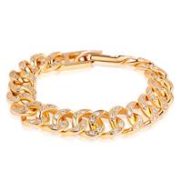 Gets® Schmuck Armband, Messing, 24 K vergoldet, Twist oval & mit kubischem Zirkonia, frei von Nickel, Blei & Kadmium, 12mm, verkauft per ca. 7 ZollInch Strang