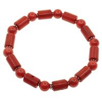 Natürliche Koralle Armband, mit Zinklegierung, rot, 7mm, 6x8mm-7x16mm, verkauft per ca. 7.5 ZollInch Strang