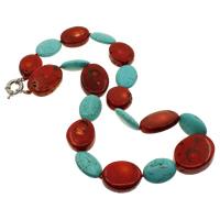 Natürliche Koralle Halskette, mit Türkis, Messing Federring Verschluss, oval, 20-25mm, 18x23x8mm, verkauft per ca. 18 ZollInch Strang