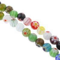 Millefiori Glasperlen, Glas Millefiori, rund, handgemacht, verschiedene Größen vorhanden, gemischte Farben, Bohrung:ca. 1mm, Länge:ca. 14 ZollInch, verkauft von Tasche