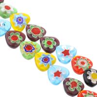 Millefiori Glasperlen, Glas Millefiori, Herz, handgemacht, verschiedene Größen vorhanden, gemischte Farben, Bohrung:ca. 1mm, Länge:ca. 13 ZollInch, verkauft von Tasche